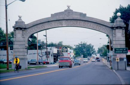 The Endicott-Johnson Arch is a prominent gateway in the Village of Johnson City, representing the history of the community and legacy of the Endicott-Johnson Company.